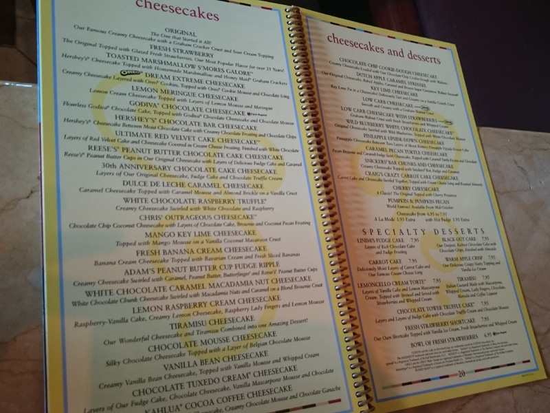 Menu at Cheese Cake Factory